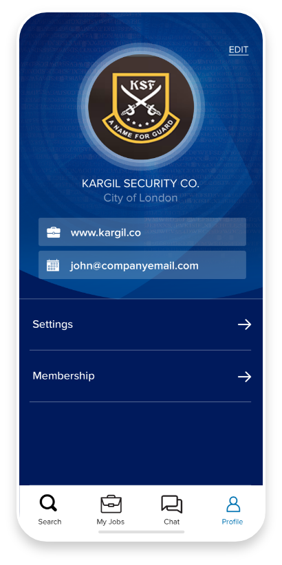 FindSec mobile app profile screen