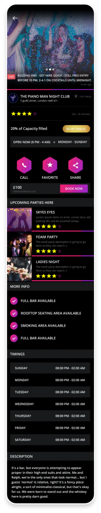 Party App Mobile App Club details screen shot
