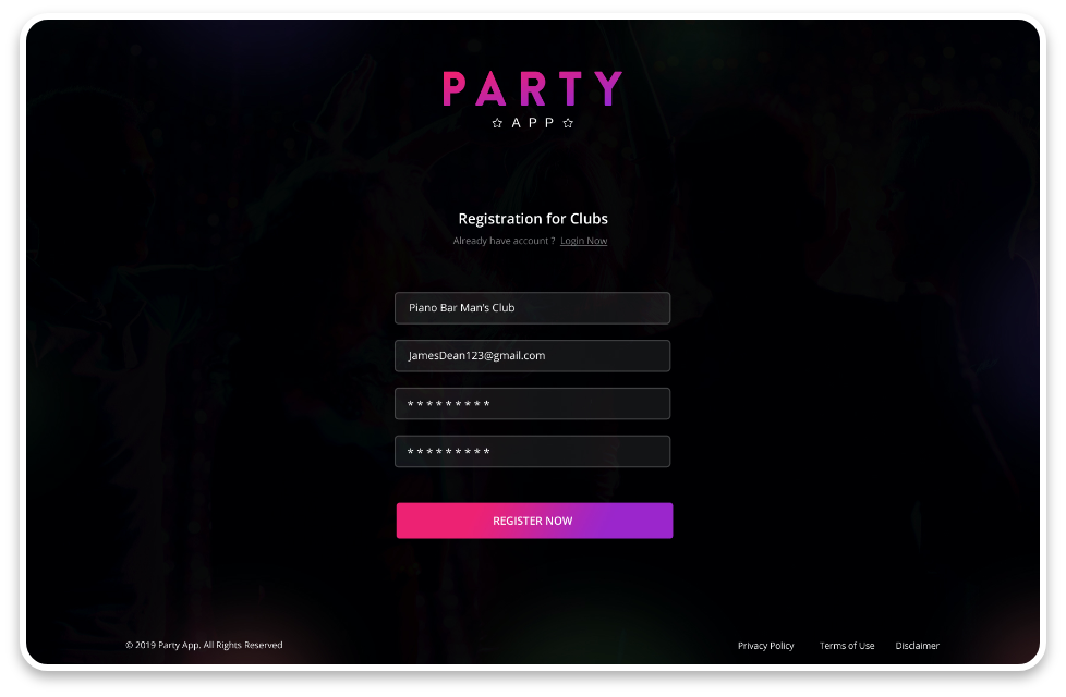 Party App Web Signup