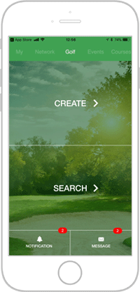 Network golf app portfolio screen 1