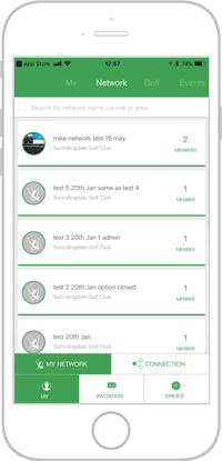 Network golf app portfolio screen 4