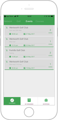 Network golf app portfolio screen 5