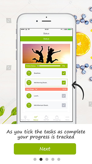 tutorial screen detox pro app 1