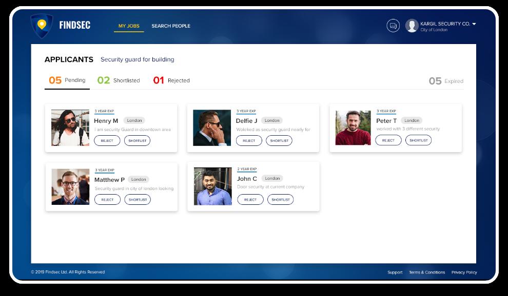 FindSec webapp job statistics
